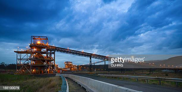 coal handling and prep plant chpp at sunset - coal mining stock photos and pictures