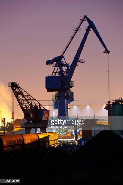 Coal Harbor Crane And Train At Night