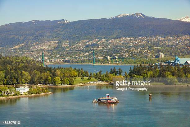 coal harbour vancouver canada - grouse mountain stock photos and pictures