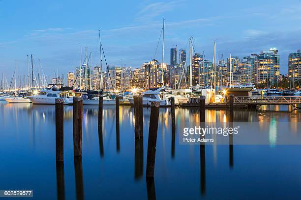 coal harbour & vancouver skyline at dusk - 2015 stock pictures, royalty-free photos & images