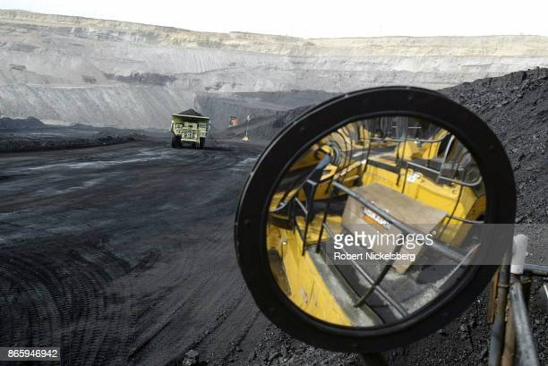 A coal hauling truck with 240 tons of coal drives to the surface at the Buckskin Coal Mine in Gillette Wyoming May 5 2004 Owned by the Kiewit...
