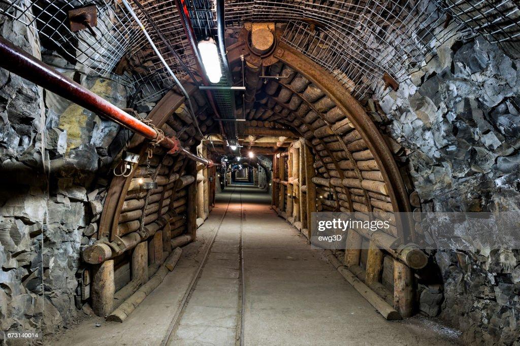 Coal mine underground corridor : Stock Photo