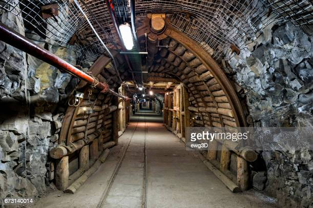 coal mine underground corridor - coal mining stock photos and pictures