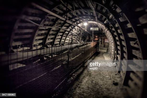coal mine underground corridor with belt conveyor for hard coal - industrial revolution stock pictures, royalty-free photos & images
