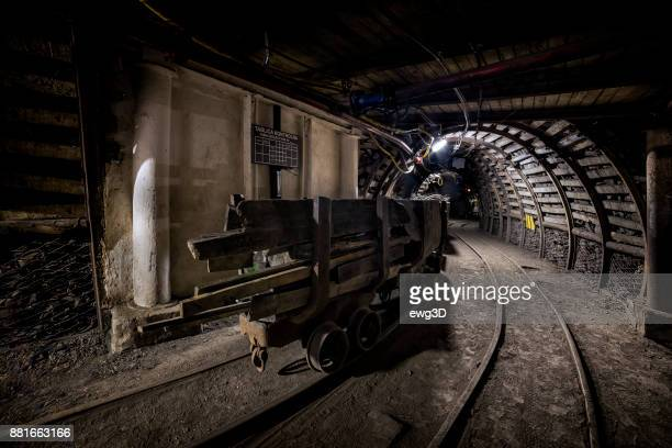 Coal mine underground corridor with freight railroad car