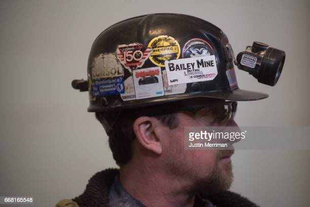 Coal miner Dale Travis of Wheeling West Virginia waits for the arrival of US Environmental Protection Agency Administrator Scott Pruitt to visit with...