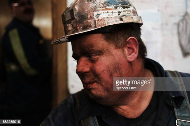 Coal miner Doug Rutherford takes a break after his shift at a small mine outside the city of Welch in rural West Virginia on May 19 2017 in Welch...