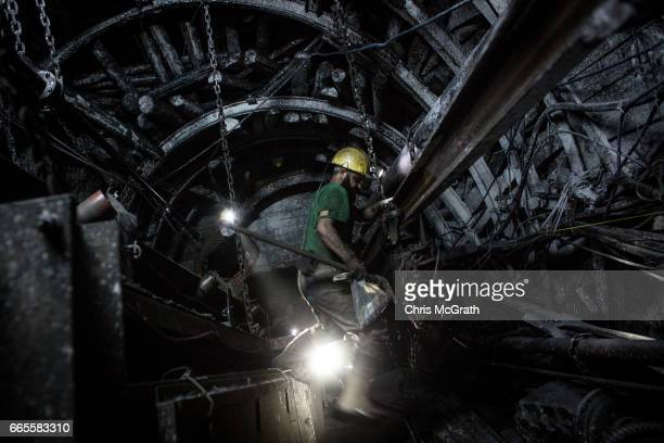 Coal miner is seen working in a tunnel at a large government run coal mine on April 4, 2017 in Zonguldak, Turkey. More than 300 kilometers of coal...