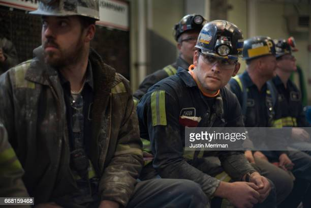 Coal miner Jaden Fredrickson of Cheat Lake West Virginia waits for the arrival of US Environmental Protection Agency Administrator Scott Pruitt who...