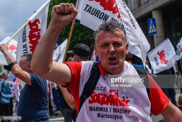 Coal miner shouts slogans during a protest in front of the European Commission representative office on June 09, 2021 in Warsaw, Poland. With the...