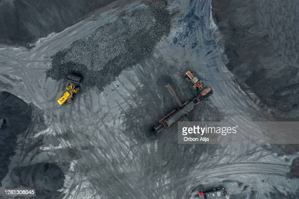 coal mineral exploitation, aerial view. - geology stock pictures, royalty-free photos & images