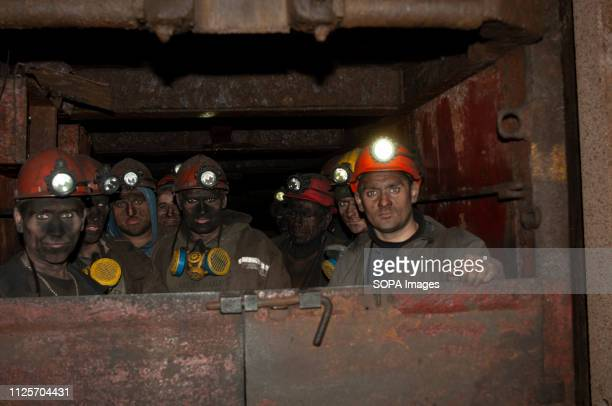 Coal miners are seen returning from their shift in an elevator which transports them 1200 meters below the surface The State owned Kalinin Coal Mine...