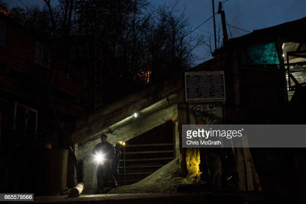 Coal miners are seen returning to the surface after finishing their shift at a small mine on April 5 2017 in Zonguldak Turkey More than 300...