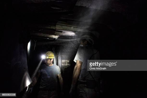 Coal miners are seen working at the coal face of a tunnel at a large government run coal mine on April 4, 2017 in Zonguldak, Turkey. More than 300...