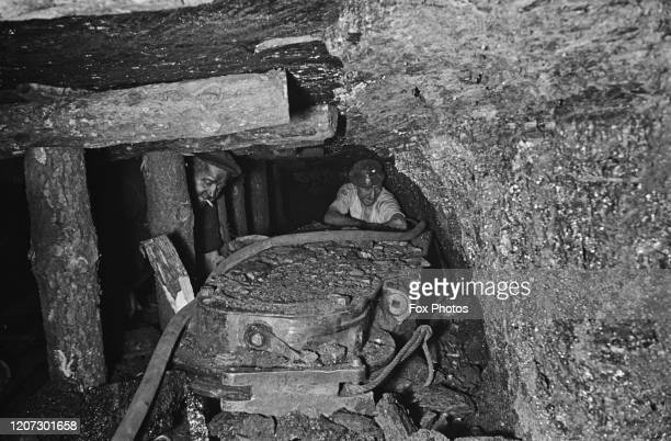 Coal miners in the Blaenavon Colliery in Blaenavon Torfaen Wales circa 1940