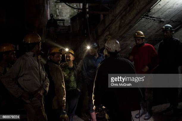 Coal miners prepare to go underground after a break in their night shift at a small mine on April 3 2017 in Zonguldak Turkey More than 300 kilometers...