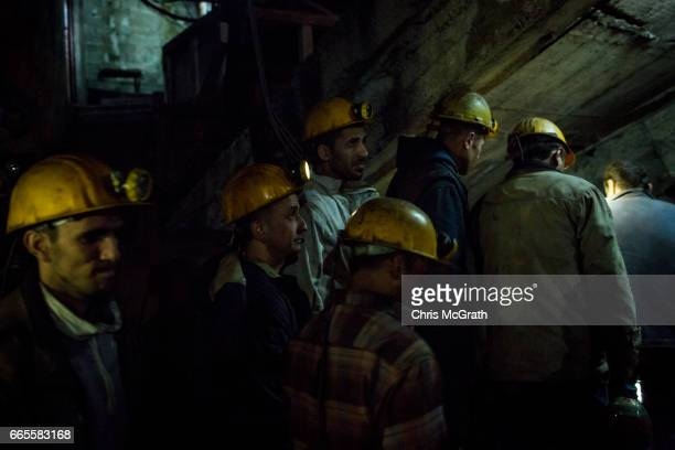 Coal miners prepare to go underground after a break in their night shift at a small mine on April 3, 2017 in Zonguldak, Turkey. More than 300...