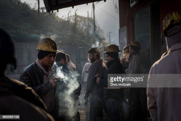 Coal miners prepare to start their shift underground at a large government run coal mine on April 4, 2017 in Zonguldak, Turkey. More than 300...