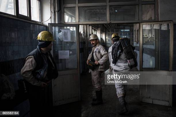 Coal miners prepare to start their shift underground at a large government run coal mine on April 4 2017 in Zonguldak Turkey More than 300 kilometers...