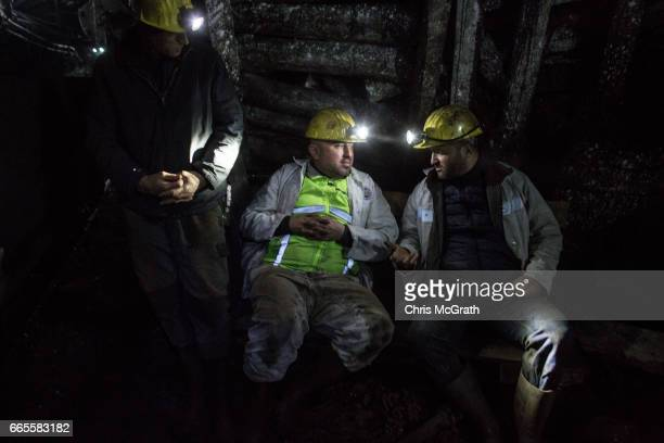 Coal miners rest while waiting for the underground train at a large government run coal mine on April 4, 2017 in Zonguldak, Turkey. More than 300...