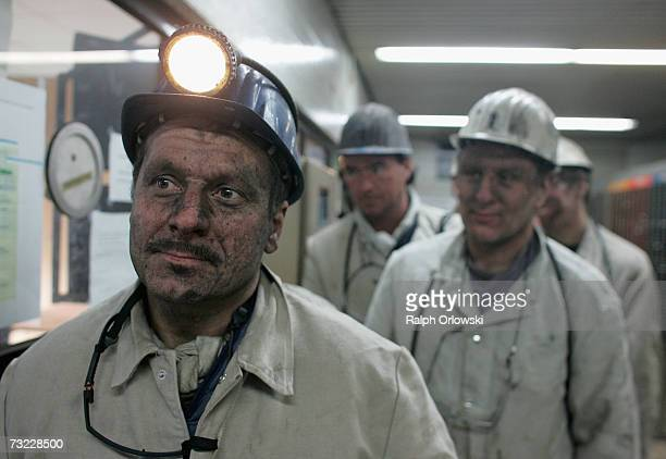 Coal miners sign off their working shift at the coal mine ProsperHaniel of Deutsche Steinkohle AG on February 6 2007 in Bottrop Germany By the end of...