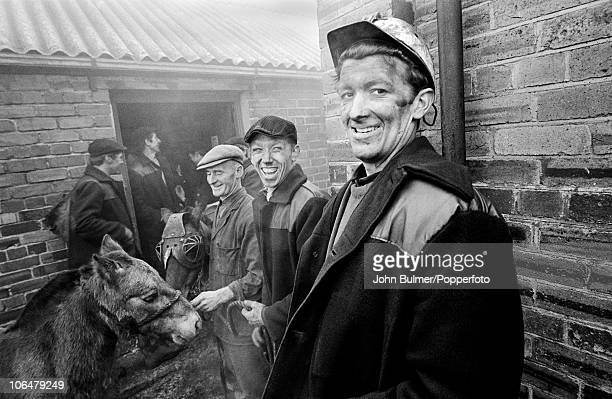 Coal miners with pit ponies near Waldridge Colliery in County Durham circa 1963