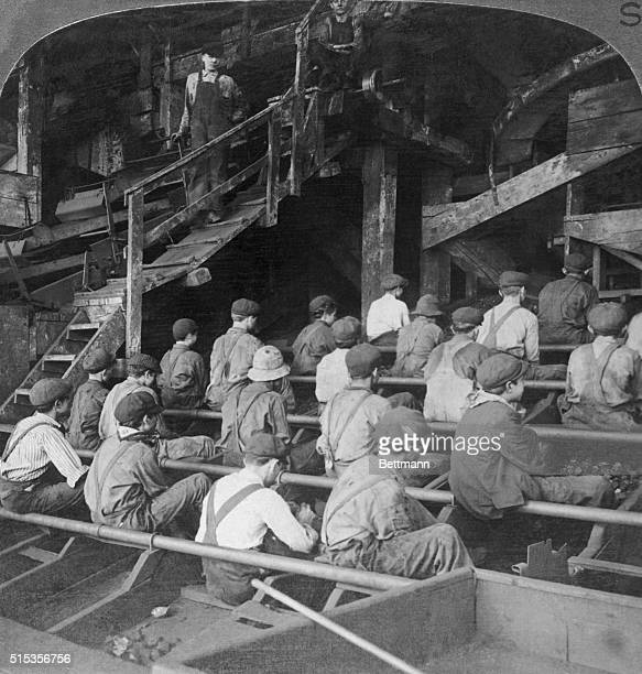 Boys picking slate in a coal breaker anthracite mine Penna