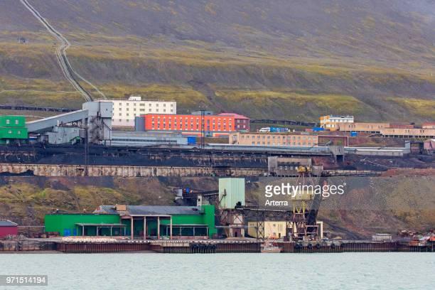 Coal mining buildings at Barentsburg Russian coal mining settlement at Isfjorden Spitsbergen / Svalbard Norway