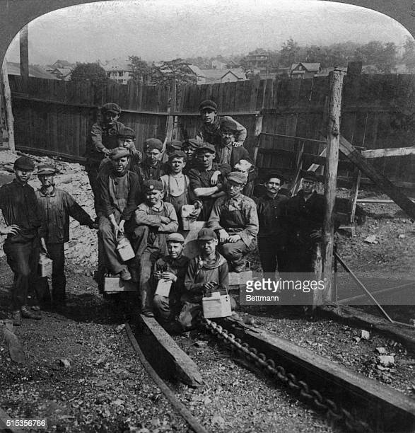 Coal mining in the anthracite region of Pennsylvania Breaker boys ready for home after a day's work