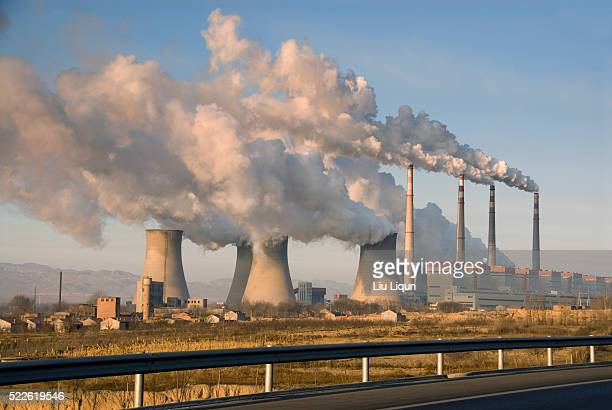 coal power plant in hebei province - coal fired power station stock pictures, royalty-free photos & images