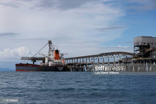 A coal ship is seen docked at Abbot Point coal port on April 25 2019 in Bowen Australia The Abbot Point coal export terminal is located 25 kilometers...