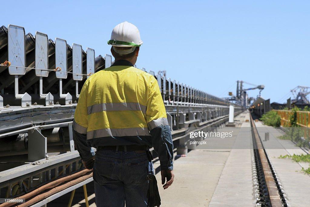 Coal Terminal Workman : Stock Photo