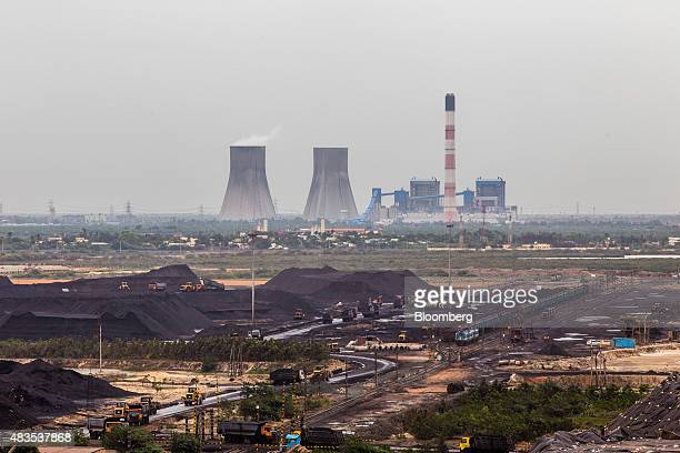 A coal yard stands in front of a power plant near the Kirshnapatnam Co port in Kirshnapatnam Andhra Pradesh India on Monday June 15 2015 A southern...
