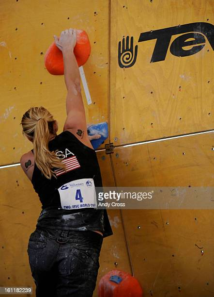 Alex Johnson, USA, reaches the top of the climbing wall, but slips off and doesn't score for her efforts during the IFSC Bouldering World Cup...