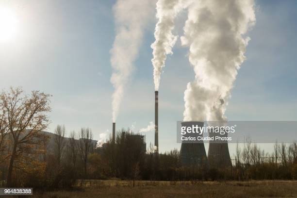 coal-fired power plant of la robla, leon, spain - fumes stock photos and pictures