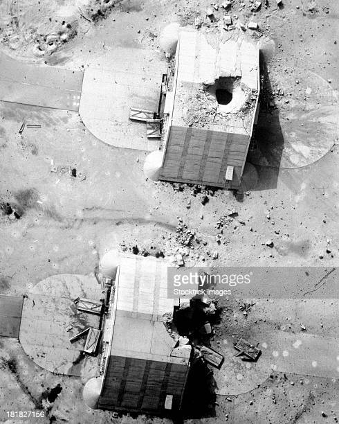 A coalition bombing of aircraft hangers during Operation Desert Storm.