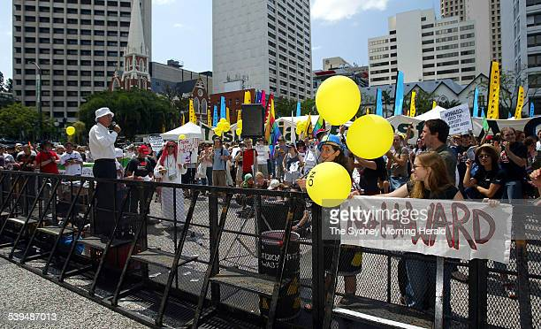 Coalition Liberal Party and National Party Federal Election Campaign Launch at City Hall Brisbane Queensland Image shows protestors outside the front...