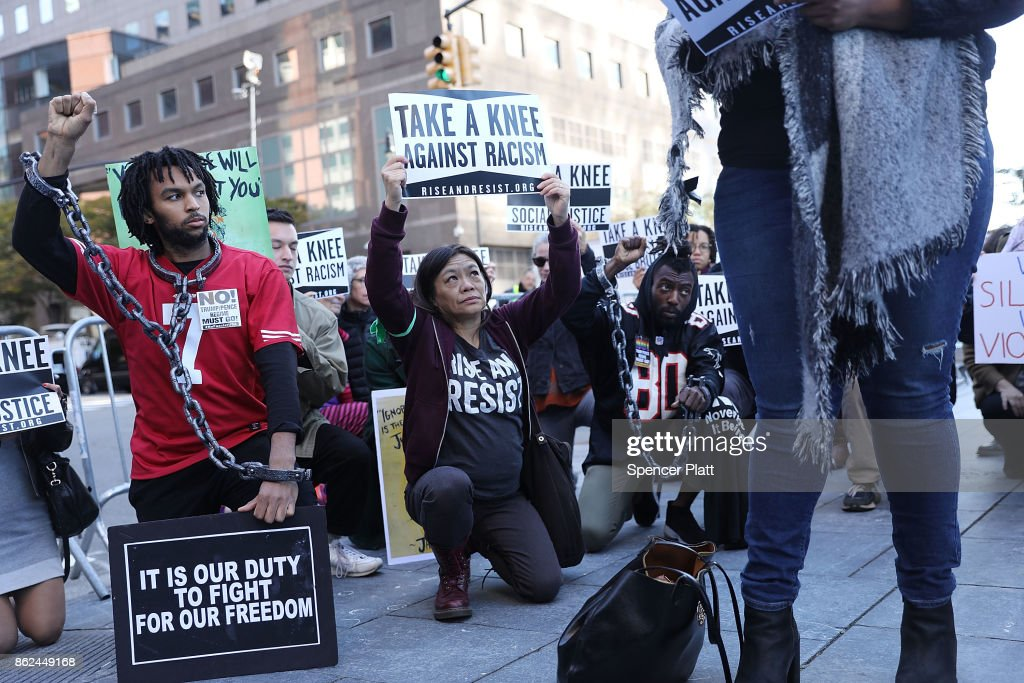 Activists Protest Outside NFL Fall League Meeting In New York : News Photo