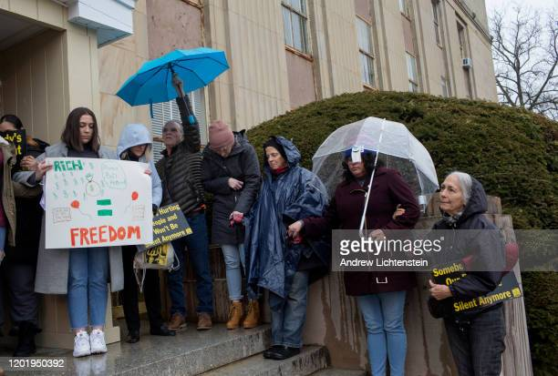 Coalition of bail reform groups hold a rally in front of the Nassau County Courthouse to call for protections to a bail reform bill recently passed...