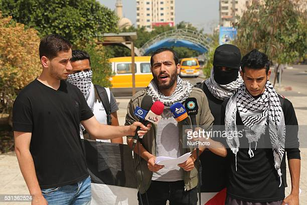 A coalition of youth uprising Palestine conference during a press conference on the announcement of the roadmap events to commemorate the Nakba in...