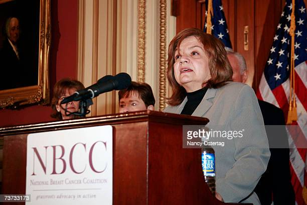 Coalition President Fran Visco speaks at the National Breast Cancer Coalition press conference at The Capitol on March 28 2007 in Washington DC