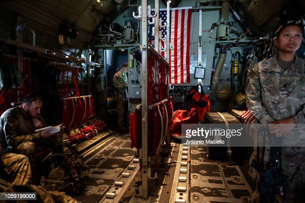 NATO coalition soldiers in the context of the Nato Resolute Support mission travel from Herat to Kabul on board a military aircraft C130 on November...