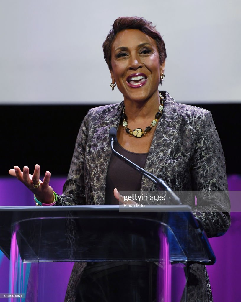 Co-anchor of ABC's 'Good Morning America' Robin Roberts accepts the NAB Distinguished Service Award during the 2018 NAB Show opening at the Las Vegas Convention Center on April 9, 2018 in Las Vegas, Nevada. NAB Show, the trade show of the National Association of Broadcasters and the world's largest electronic media show, runs through April 12 and features more than 1,700 exhibitors and 102,000 attendees.