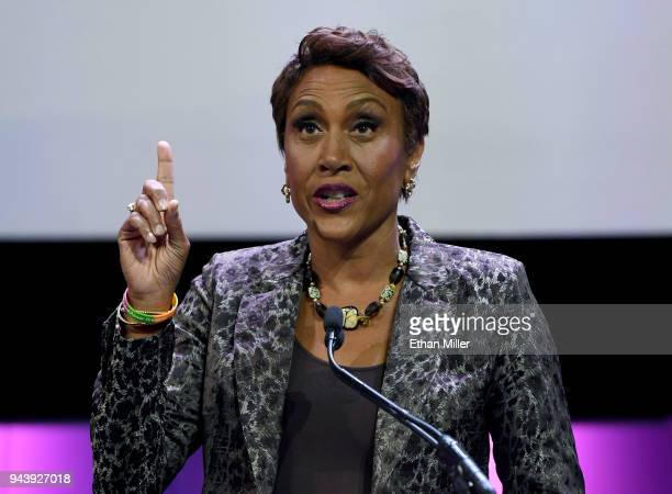 Coanchor of ABC's Good Morning America Robin Roberts accepts the NAB Distinguished Service Award during the 2018 NAB Show opening at the Las Vegas...
