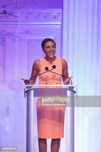 """Coanchor of GMA Robin Roberts speaks onstage during David Lynch Foundation Hosts """"Women of Vision Awards"""" at 583 Park Avenue on May 9 2017 in New..."""
