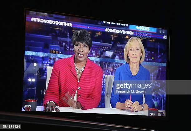 Coanchor/managing editor of PBS NewsHour Gwen Ifill and coanchor/managing editor of PBS NewsHour Judy Woodruff speak onstage via Skype during the...
