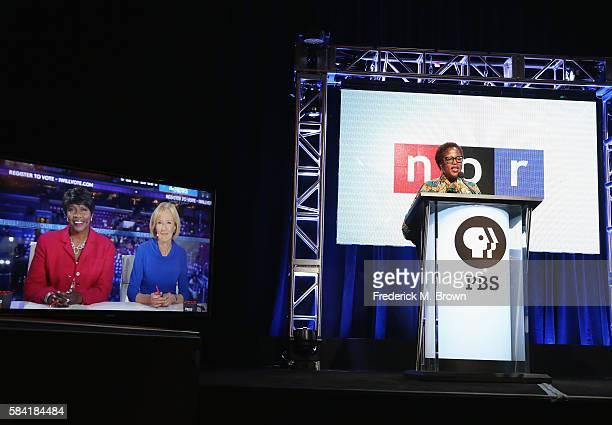 Coanchor/managing editor of PBS NewsHour Gwen Ifill coanchor/managing editor of PBS NewsHour Judy Woodruff speak onstage via Skype with Vice...