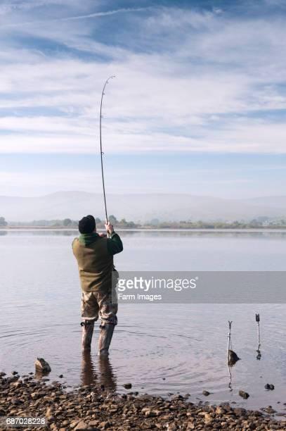 Coarse fishing on Semerwater Wensleydale on a still autumnal morning
