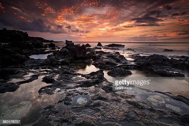 coast at red tank, lana`i, hawai`i - lanai stock photos and pictures