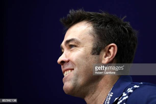 Coast Chris Scott talks to the media during a Geelong Cats AFL media session at Simonds Stadium on August 17 2017 in Geelong Australia